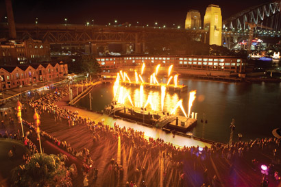 Flaming Moving Light Fixtures Used for Vivid Festival's FireDance on Sydney Waterfront