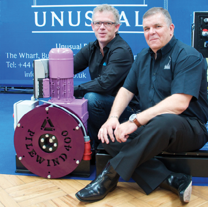 From left, Denis Bramhall from Unusual Rigging and Michiel van der Zijde from Prolyte at the ABTT show.