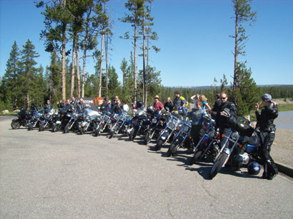 The 14-motorcycle crew lined up for a photo in Yellowstone