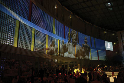 Five Robe DigitalSpot 7000 DTs lit the glass brick atrium for the Synot Tip party