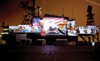 Projection on USS Midway