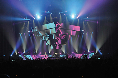 Brilliant Stages was involved in the overhead LED video pyramid and other set elements for the Muse Second Law tour