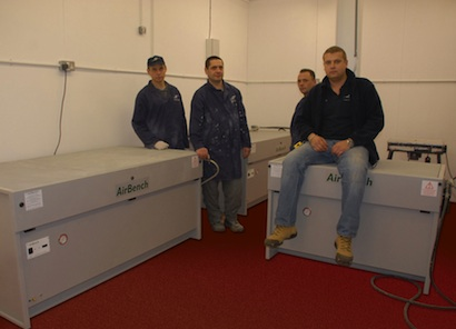 Pictured – Ingus Lasinskis (seated) with Rokas, Vytas and Valerijs from 5 Star's woodwork department