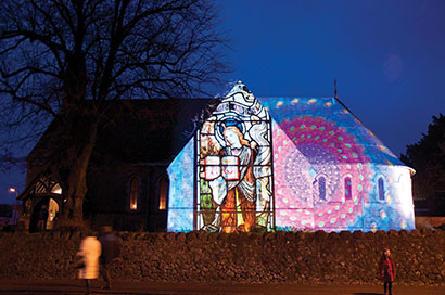 Large-Format Projection Animates All Souls Church with Archangels