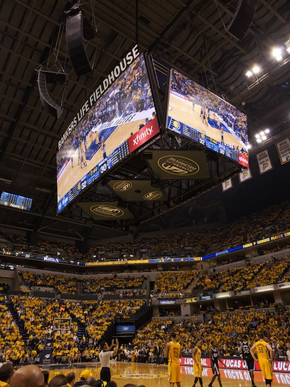 Pacers' new video board using Vista Spyder