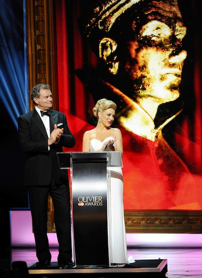 Olivier Awards: Hugh Bonneville & Sheridan Smith. Photo Jonathan Hordle, Rex Features