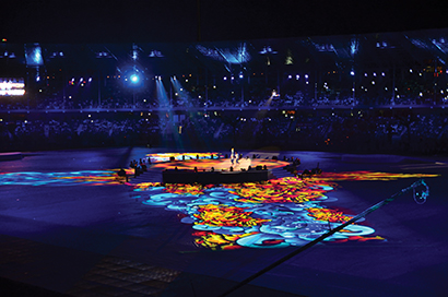 Lusophony Games 2014 opening ceremony included projection mapped visuals from Christie projectors. Production Design: BARTKRESA design.