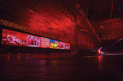 For the Live Action Arena portion of the 2014 Autosport International exhibition at Birmingham's National Exhibition Centre, XL Video returned with the 90-meter-wide projection