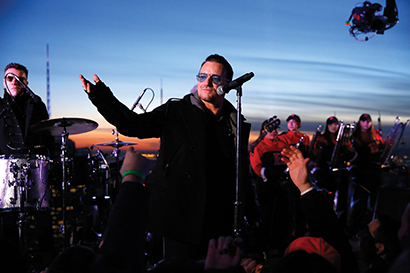 U2 atop Rockefeller Center for the Feb. 17 premiere of The Tonight Show Starring Jimmy Fallon. Photo courtesy of NBC