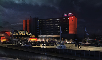 Danish City Lights Town Center Building With SGM Fixtures Nice Look