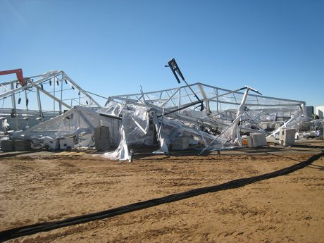 Having a weather emergency plan in place helped the author and others evacuate this Mojave Desert gig before gale force winds brought the structure crashing down.