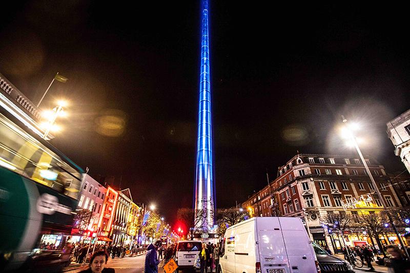 Dublin Spire Awakens as Light Saber, with Avolites Titan One
