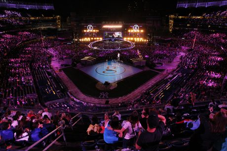 The stadium was bathed in light for the cameras. Photos by Todd Kaplan