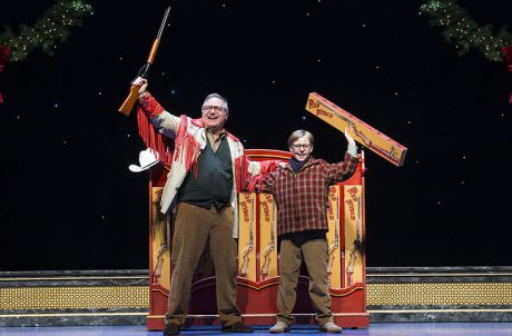 Jean Shepherd (Chris Carsten) and Myles Moore (Ralphie) extol the virtues of the Red Ryder air rifle. 4Wall provided the touring package to facilitate the show's needs. Photo by Jesse Schreve