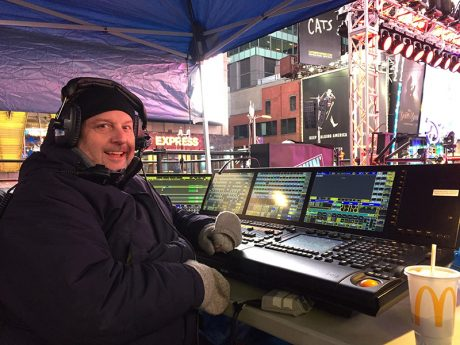 Paul Sonnleitner keeping warm at his console position in Times Square for New Year's Eve.