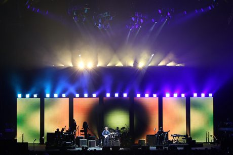 The design is a showcase for the creative use of negative space. Eric Clapton tour photo by Todd Kaplan. Pictured here, Ayrton MagicPanels mounted above the video panels