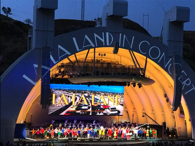 Video elements included the 20-by-50-foot center-hung LED CS8 screen, which featured the movie, plus projection-mapping on the Bowl's bandshell and a 10-camera setup for I-Mag screens.