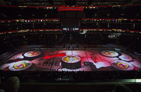 Chicago Blackhawks rink projection by Quince Imaging