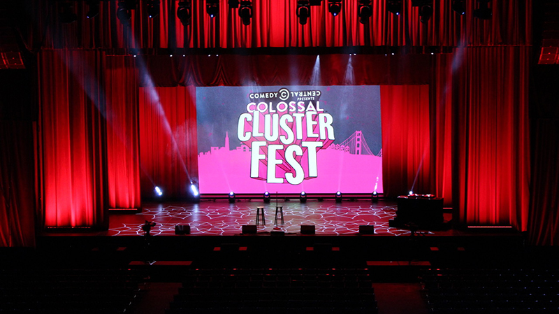 The indoor stage at the Bill Graham Civic Auditorium was one of many stages used for the event.