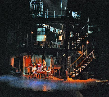 Beowulf Boritt's elaborate set for Act One was one of the biggest to make use of a turntable. Photo by Joan Marcus