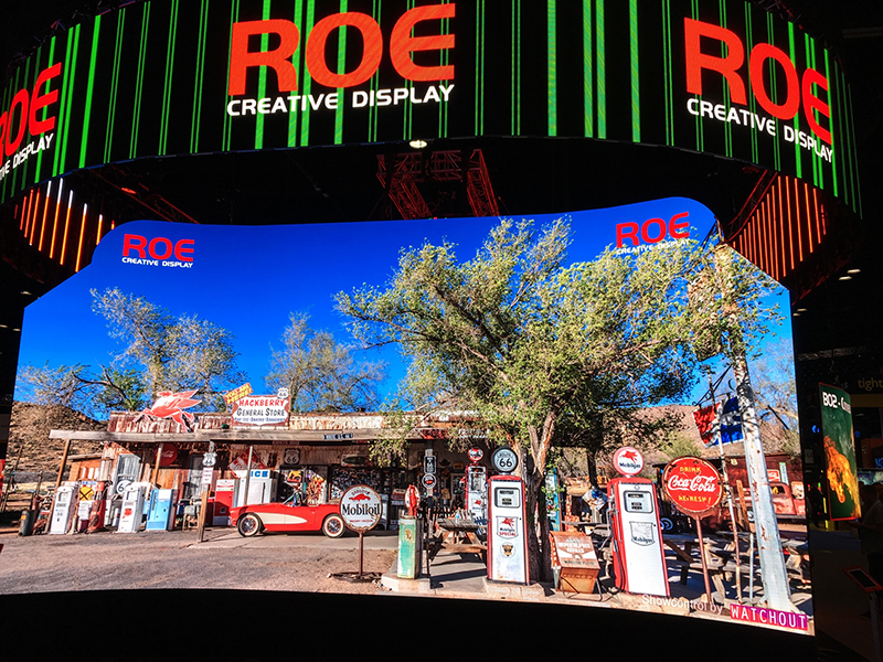 CB cabinets were hung in a circular array at Roe's InfoComm 2017 booth.
