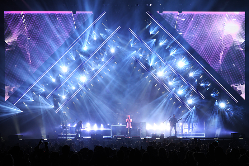 Claypaky Mythos in use with gobo patterns. 2017 OneRepublic tour photo by Todd Kaplan.