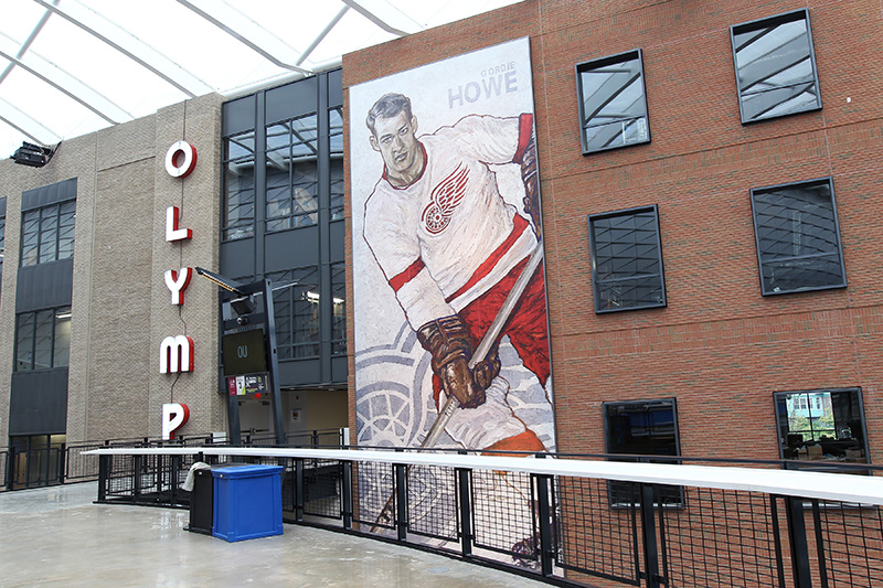 Local artwork of Detroit legends abounds outside the arena