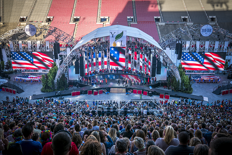 Video was used on the main stage and side I-Mag screens at Rice Eccles Stadium in Salt Lake City. Photos by Thomas Newton