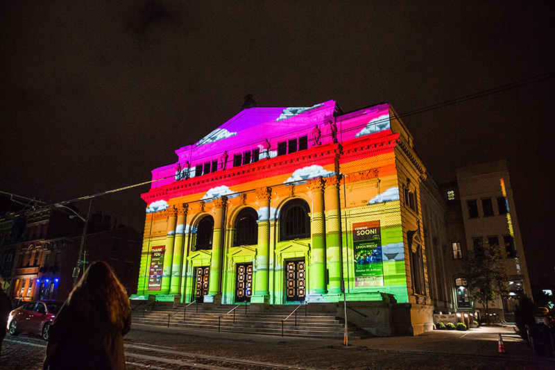 Cincinnati's Memorial Hall, lit as part of Blink Cincinnati 2017
