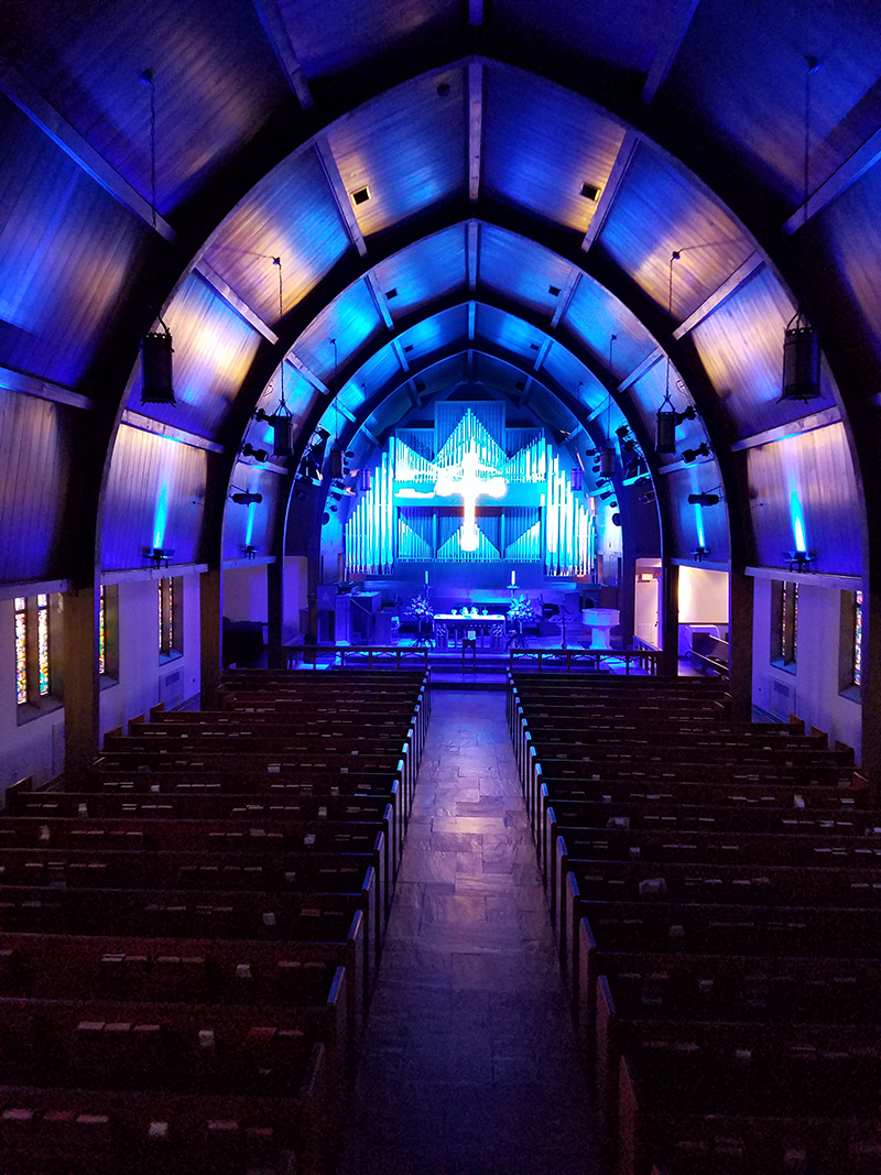 Ken Patterson of A Tennessee Lighting Company chose Chauvet Professional fixtures for the LED upgrade at First United Methodist Church.