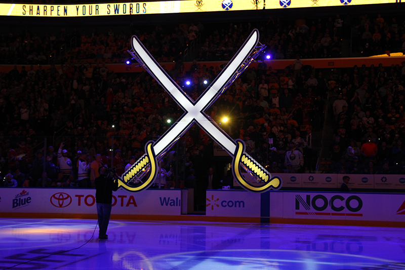 Ben Rodman of Infinity Productions created the DMX-controlled 'crossed sabres' scenic element. Photo courtesy Bill Wippert-Buffalo Sabres.