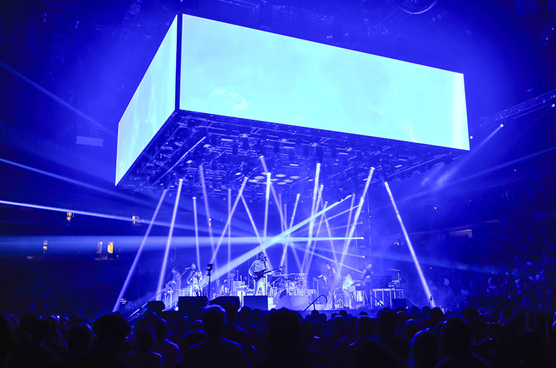 360 ROE Creative Display MC 7H LED Tiles were in use. 2017 Arcade Fire tour photo by Steve Jennings