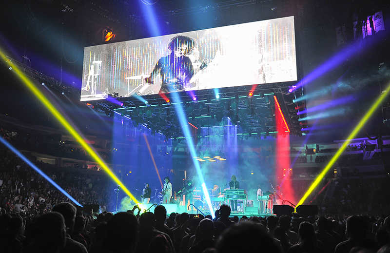 PRG's ICON fixtures were used. 2017 Arcade Fire tour photo by Steve Jennings