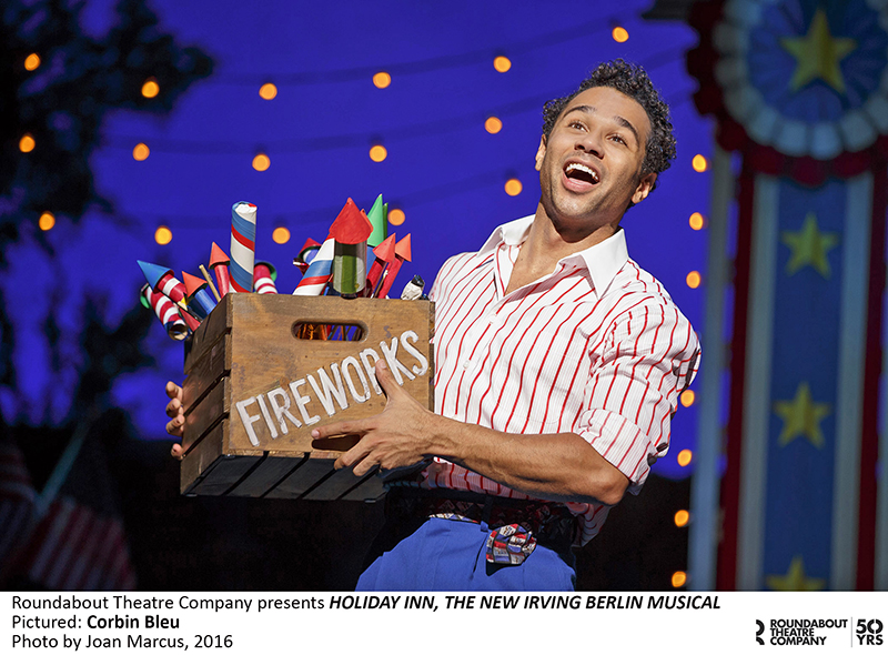 Corbin Bleu fires up the audience with a sequence using strobe lights, theatrical dust, and sound effects.