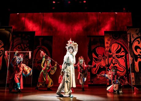 Song Liling (Jin Ha) during a colorful performance. Photo by Matthew Murphy