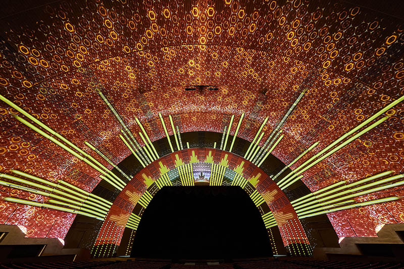 Ultra-high-res projection-mapping extends from four to eight of the venue's proscenium arches, and all native 14,000-by-14,000 pixels were mapped for the FOH projection. Photos courtesy Radio City/MSG.