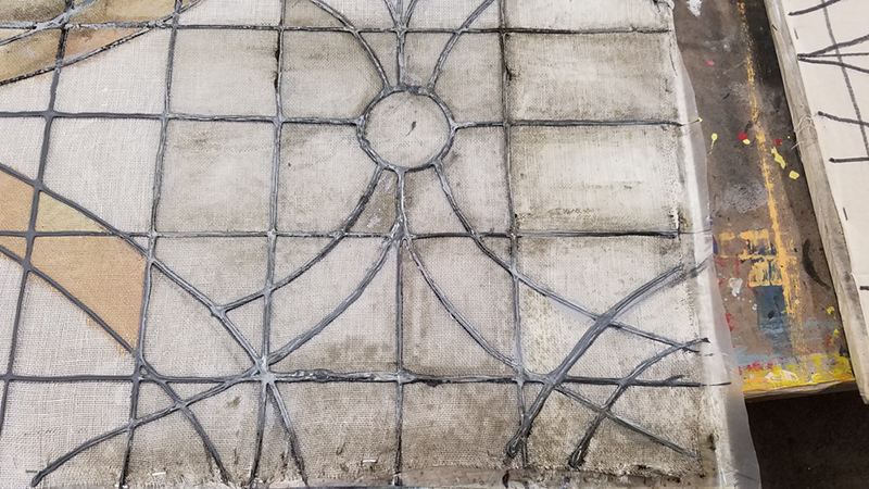 The portal windows are done as gauze with a gel coat and paint to give them a distressed - leaded glass look.