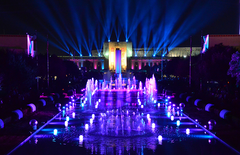 This year's nightly 'Illumination Sensation' spectacle also lit up the Hall of State building and the fountains.