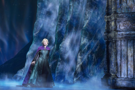 A scene from Frozen, the new Broadway musical from Disney Theatrical Productions. Scenic and Costume Design by Christopher Oram; Lighting Design by Natasha Katz; Sound Design by Peter Hylenski; Video Design by Finn Ross; Puppet Design by Michael Curry; Hair Design by David Brian Brown; and Makeup Design by Anne Ford-Coates. Photo by Deen van Meer