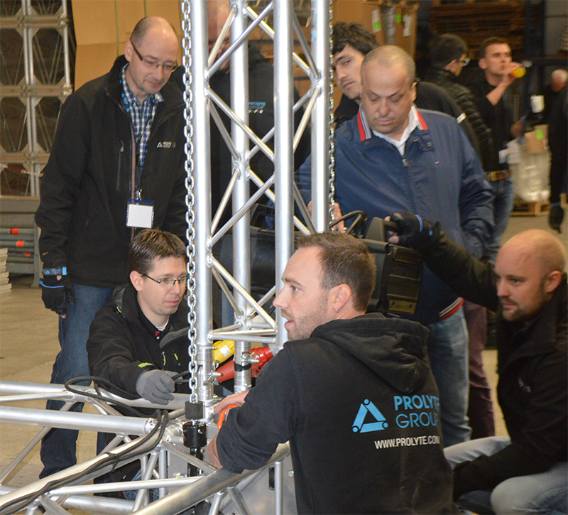 Prolyte's Ruud de Deugd, pictured here leading a hands-on training session, will lead the EPIC panel discussion.
